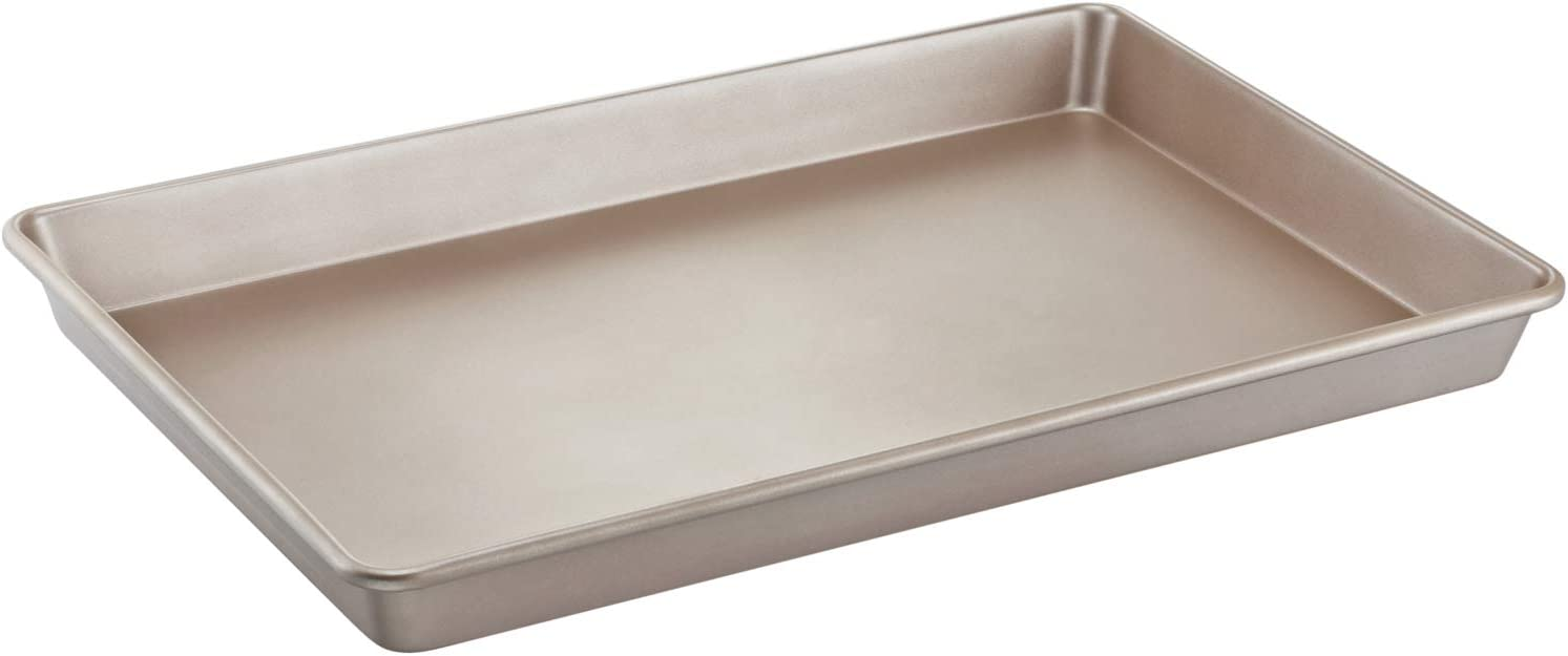 "CHEFMADE 23-Inch Commercial Baking Sheet Pan, Non-stick Cake and Loaf Sheet Pan, FDA Approved for Oven Roasting Meat Bread Jelly Roll Battenberg Pizzas Pastries 23.6"" x 15.7""x 1.9""(Champagne Gold)"