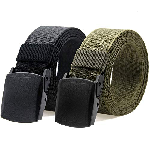 Nylon Canvas Belt Hiking Outdoor Adjustable Belts Unisex Military Style Casual Army Outdoor Tactical Plastic Buckles Webbing for Men and Women 2 pack By ANDY GRADE (Black + Army Green)