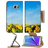 Liili Premium Samsung Galaxy Note 5 Flip Pu Leather Wallet Case Wind turbines over a beautiful sunflowers field in Limon Colorado Note5 Image ID 21591016