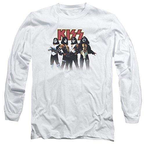 KISS Throwback Pose Long Sleeve Shirt, White, Large