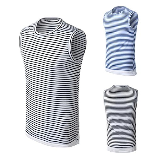 Blouse, Han Shi Fashion Men Summer Striped Tank Tops Shirt Striped Fitness Vest Cami