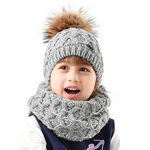 Womens Winter Hat and Scarf Set for Girls Knitted Beanie Hat Pom Pom Hats Infinity Scarf (kids hat scarf, kids thick set-Grey raccoon pom)
