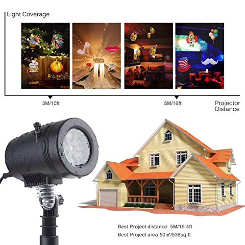 Christmas Lights Moving Projector Projection Spotlight Outdoor Lamp W/ 14 Replaceable Lens for Party Decorator Kids Cartoon Xmas Easter Thanksgiving Birthday Holiday