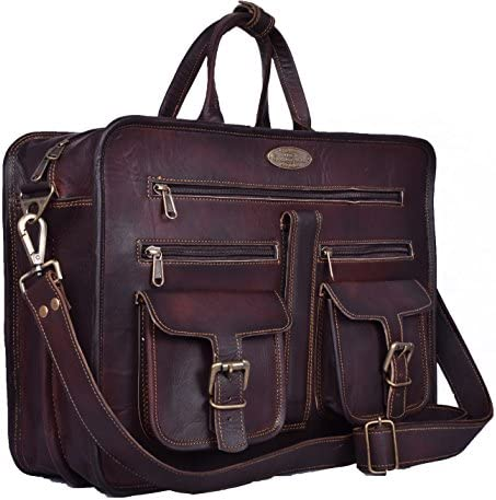 Handmade World Leather Messenger Bag - 16 Inch Briefcase Messenger Bag Brown Leather with Crossbody Shoulder Strap - Great Messenger Bag for Laptops, Business, Travel, or School