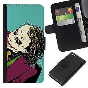 KLONGSHOP // Tirón de la caja Cartera de cuero con ranuras para tarjetas - Película Broma Retrato Bat - Apple Iphone 5C //