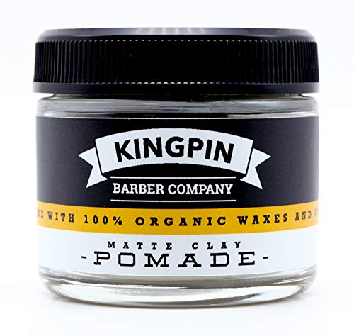 Organic Hair Pomade, Matte Finish, by Kingpin Barber Co. | All-Day Strong Hold | Low Shine | Signature Scent, 2.2oz.