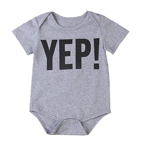 (FEITONG Toddler Kids Newborn Infant Baby Boys Letter Brother Matching Clothes T Shirt Tops/Jumpsuit Romper Outfits (Gray Yep, 12-18M))