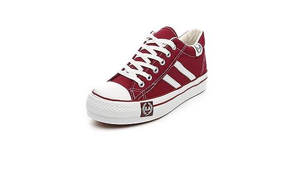 YUE Alpargatas primavera mayor/Zapatos de suela gruesa de aire plataforma estudiantes-D Longitud del pie=24.3CM(9.6Inch): Amazon.es: Zapatos y complementos
