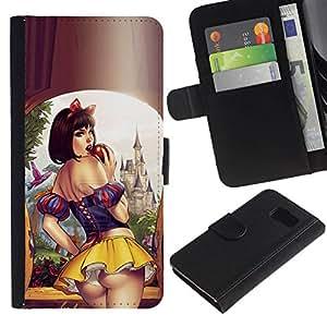 All Phone Most Case / Oferta Especial Cáscara Funda de cuero Monedero Cubierta de proteccion Caso / Wallet Case for Samsung Galaxy S6 // labios sexy falda corta mujer niña sensual