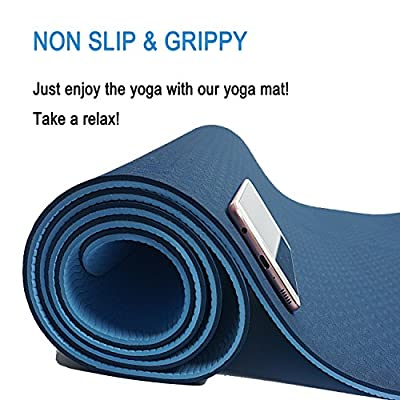 ATHOON Thick Yoga Mat with Strap 2018 New Eco Friendly Non Slip Exercise TPE Yoga Mat for Men & Women Outdoor and Indoor