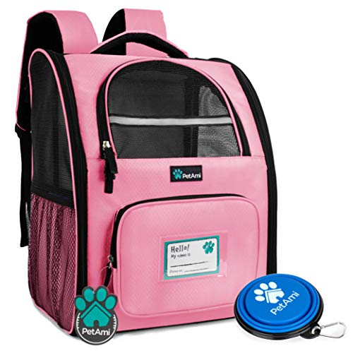 PetAmi Deluxe Pet Carrier Backpack for Small Cats and Dogs, Puppies | Ventilated Design, Two-Sided Entry, Safety Features and Cushion Back Support | for Travel, Hiking, Outdoor Use (Pink)