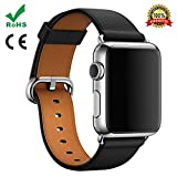 Watch Band For Apple Watch,TFSeven Classic Handcraft Leather Business Replacement iWatch Strap for iWatch Apple Watch Nike+ Sport Edition Series 1 Series 2 Series 3, S/M Size (Black, 42mm)