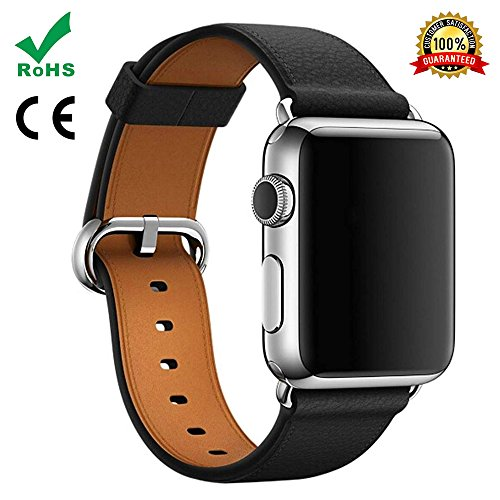 Watch Band For Apple Watch,TFSeven Classic Handcraft Leather Business Replacement iWatch Strap for iWatch Apple Watch Nike+ Sport Edition Series 1 Series 2 Series 3, S/M Size (Black, 38mm) by TFSeven®