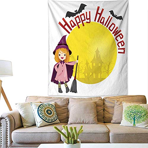 BlountDecor Gorgeous Tapestry Girl in Halloween Witch Costume 60W x 80L INCH ()