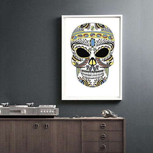 MMUA Technicolor Hallowmas Skull Canvas Print Poster Wall Stickers Home Decoration Household Living Room Bedroom Mural Decor Decal Removable New (S, (Ideas Decorativas Para Halloween)
