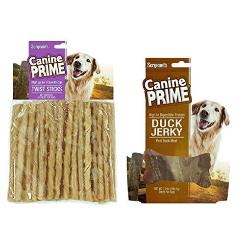 Live with Flair Sergeants Rawhide Twisted Sticks Bundle with Duck Jerky - Helps Clean Teeth and Gums - High in Digestible Protein - Canine Duck