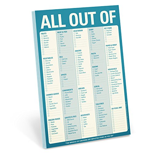Knock Knock All Out Of Pad Grocery List Note Pad, 6 x 9-inches (Blue) (Best Grocery List Ever)