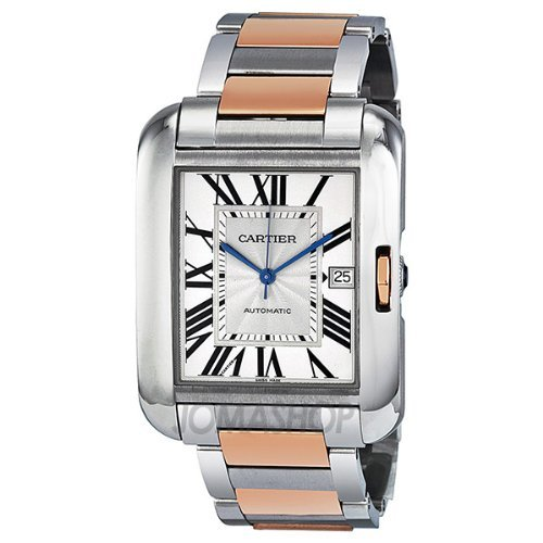 Cartier Tank Anglaise XL Automatic Silver Dial 18 kt Rose Gold and Steel Mens Watch W5310006