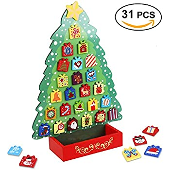 unomor advent calendar with 31 magnets countdown to christmas wooden advent calendar for kids