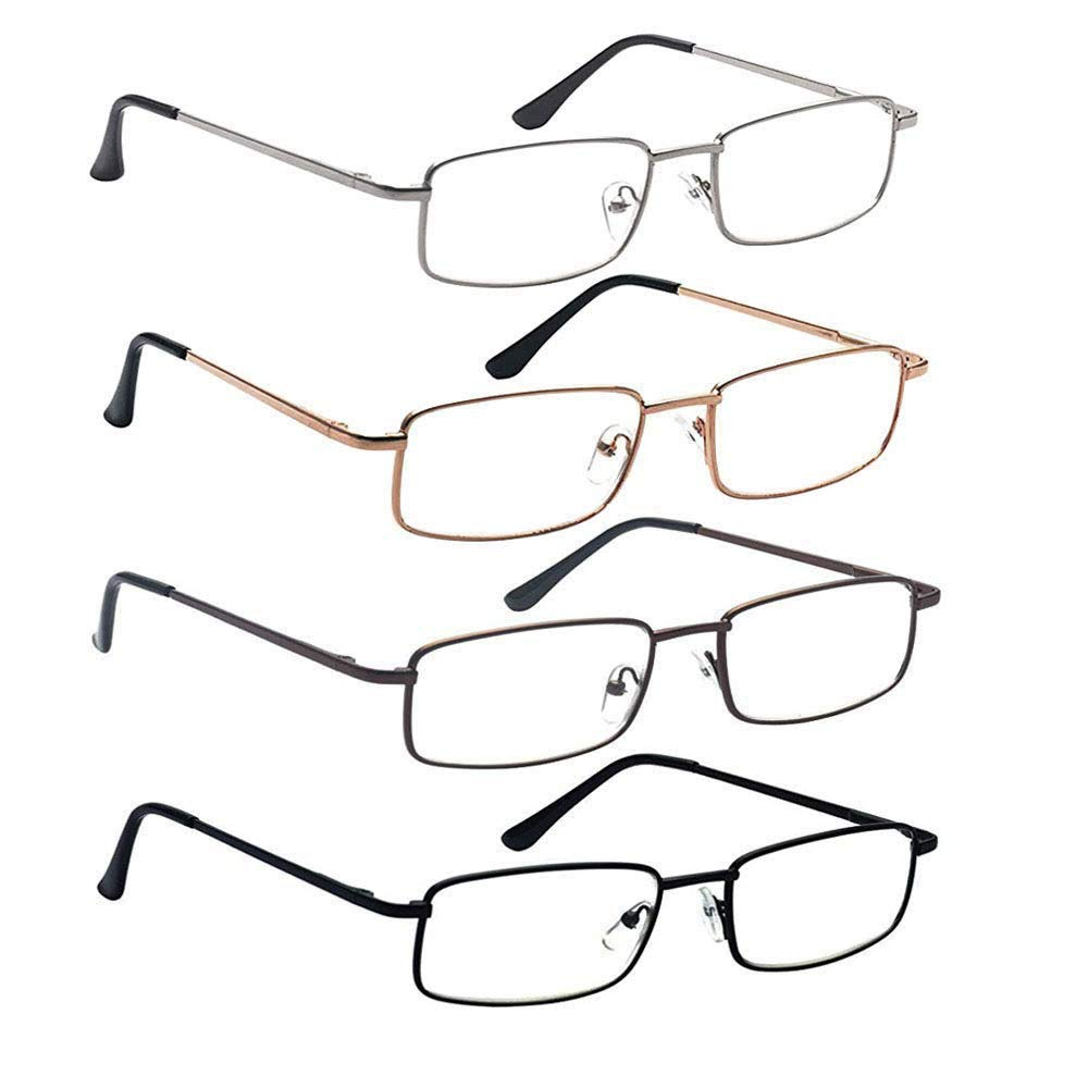56ad5578c5 Reading Glasses 3.0 with Spring Hinge 4 Pack Readers with Case   Cloth for  Men Quality Stainless Steel Metal Frame ...