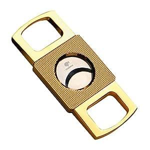 Portable Zinc Alloy Metal Cigar Cutter Sharp Cigar Scissor (Gold)