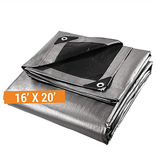 Heavy Duty Poly Tarp - 16' x 20' - 10 Mil Thick Waterproof, UV Blocking Protective Cover - Reversible Silver and Black - Laminated Coating - Rustproof Grommets - by - Tarp Heavy Duty Gray