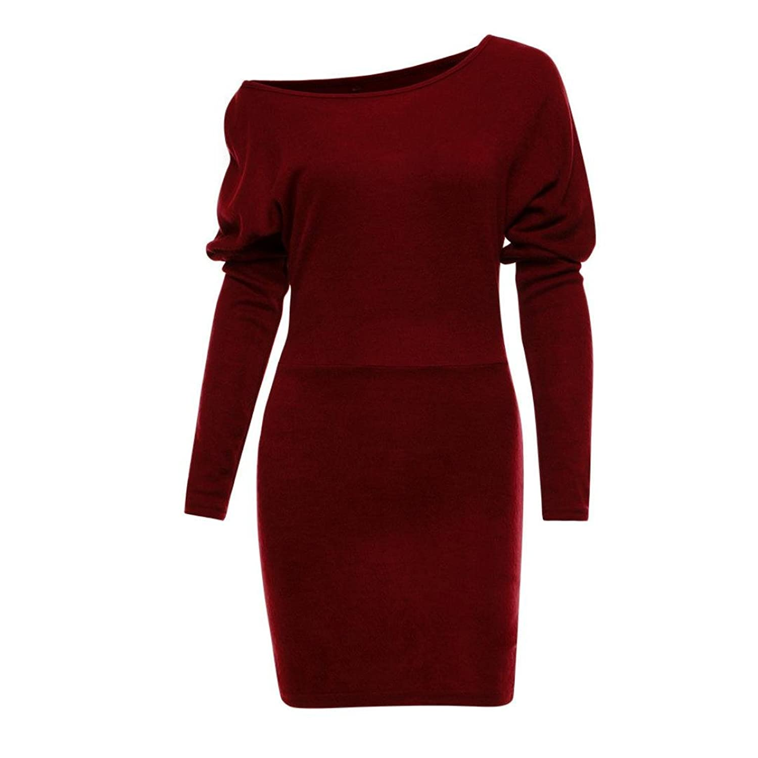 JUNKE Womens Sexy Bat Sleeve Bodycon Dress