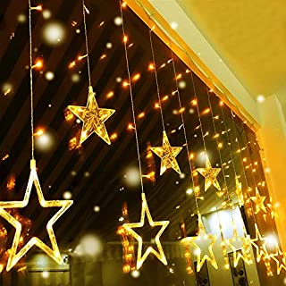 Quntis LED 12 Stars Curtain Lights - 138 LEDs Christmas Window Icicle Lights 8 Modes Decorative Fairy String Lights Backdrop for Outdoor Indoor Home Bedroom Wedding Party Kitchen Wall, Warm White