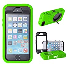 Xtra-Funky Range iPhone 5 / 5S Heavy Duty Dual Layer Silicon and Plastic Shock Absorbing Ultimate Protective Case with Built in Stand and Protective Screen layer - Lime Green