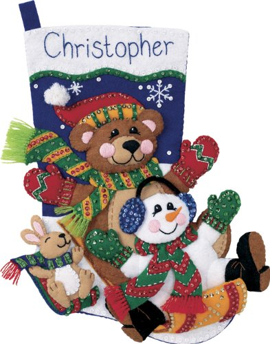 Dimensions Christmas Toboggan Wool Felt Christmas Stocking Kit, 18'' H