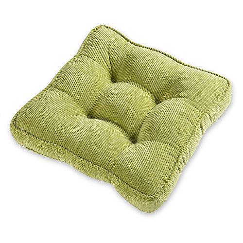 Baibu Square Corduroy Chair Cushion Soft Thicken Seat Cushion Pad for Office/Home Sitting Green