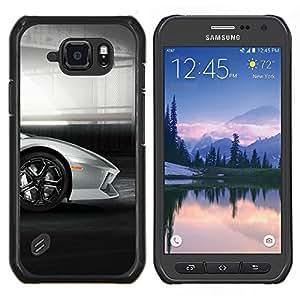 Lambo Galardo coche- Metal de aluminio y de plástico duro Caja del teléfono - Negro - Samsung Galaxy S6 active / SM-G890 (NOT S6)