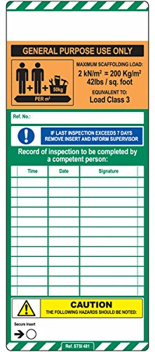 Pack of 50 General Purpose Signs and Labels AMZSCF0SL4BO ScaffTag Mk1 Insert Orange