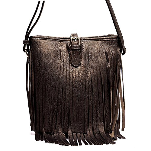 Western Handbag Style (Elphis Western Style Vintage Fringe Tassel Bucket Shoulder Bag Cross Body Bag(090) (Bronze))