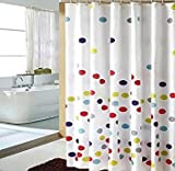 HOMEIDEAS Colorful Polka Dot Designer White Shower Curtain With Hooks Bathroom Decor Polyester 72x72 Inch