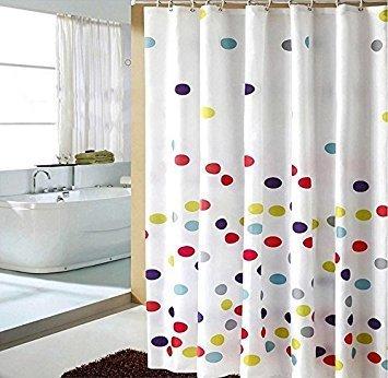 HOMEIDEAS Colorful Polka Dot Designer White Shower Curtain With Hooks Bathroom Decor Polyester 72x72 Inch (Curtain Polka Dot)