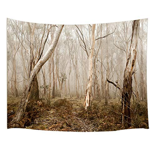 JAWO Gothic Decor Tpestry Wall Hanging, Scary Haunted Dense Fog Forest with Fallen Leaves, Polyester Fabric Wall Tapestry for Home Living Room Bedroom Dorm Decor 80W X 60L Inches