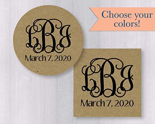 (Monogram Save the Date Kraft Envelope Seals/Stickers/Labels (#156-KR))