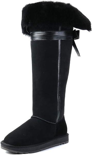 8e94fe0352c INOE Fashion Sheepskin Leather Sheep Fur Lined Women Winter Wnow Boots Over  The Knee ...