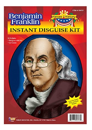 Child Heroes in History Instant Disguise Kit - Benjamin Franklin - Wig and - Franklin Glasses