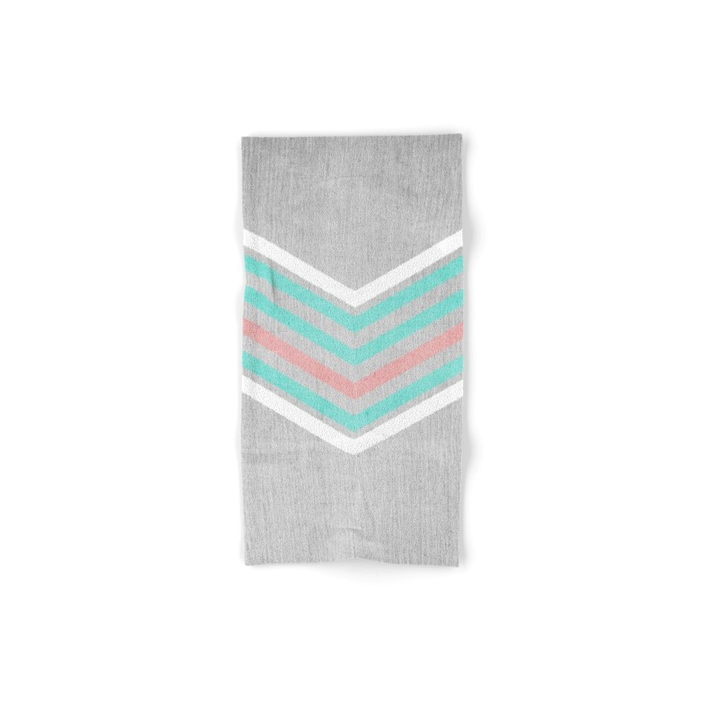 Society6 Teal, Pink And White Chevron On Silver Grey Wood Hand Towel 30''x15''