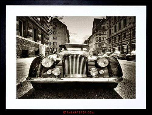 Old Car Framed (TRANSPORT VINTAGE PHOTO MORGAN OLDTIMER CAR B&W FRAMED PRINT F97X4091)