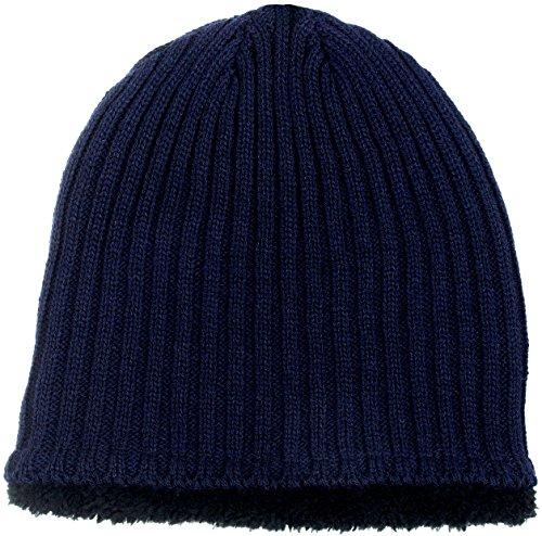 SWAK Sherpa Fleece Lined Knit Beanie Women's Hat in 5 Colors (Navy Blue)