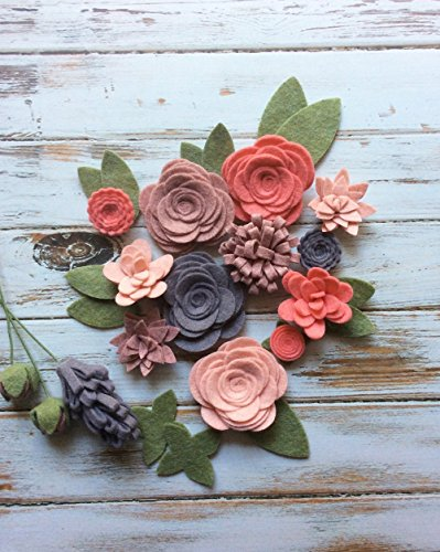 Wool Felt Fabric Flowers - Flower Embellishment - Large Posies - 17 Flowers & 14 leaves - Create your own Headbands, Wreaths