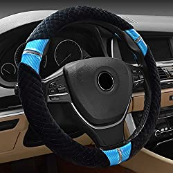 Accessories for Car Wheels Steering-wheel Cover Winter Warm Black Blue
