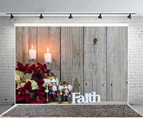 - Leyiyi 6x4ft Photography Background Vintage Room Interior Backdrop Faith Character Nutcrackers Grunge Wooden Wall Hardwood Texture Candle Poinsettias Merry Christmas Photo Portrait Vinyl Studio Prop