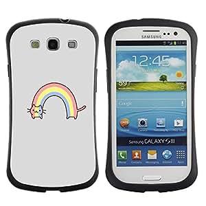 LASTONE PHONE CASE / Suave Silicona Caso Carcasa de Caucho Funda para Samsung Galaxy S3 I9300 / Rainbow Gray Cartoon Funny