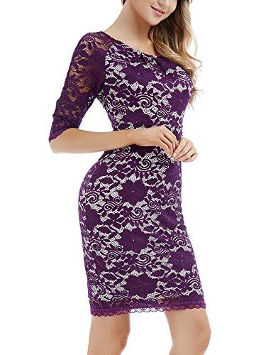 Larga Púrpura Encaje Vestido Manga Floral con Mujer Vintage para con para Fiesta Cóctel para Bodycon Vestido Boda aSwqq