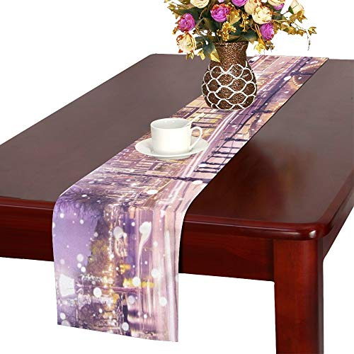 Traditional Dutch Old Houses Bridges On Table Runner, Kitchen Dining Table Runner 16 X 72 Inch for Dinner Parties, Events, ()