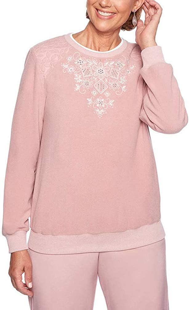 Alfred Dunner Women's Petite Home for Holidays Applique Sweater